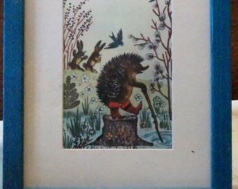 Vintage Storybook Print (Hiking Hedgehog)