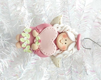 Baby's First Angel Ornament - Personalized Angel Christmas Ornament - Polymer Clay Angel Ornament - Angel Collector Ornament -  8103