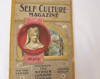 1900 Self Culture Magazine Antique Books Stories on Travel Politics History Literature Vintage Ads Advertisements Color Cover FREE SHIPPING