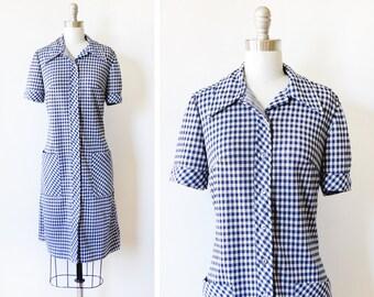 blue gingham dress, vintage 70s mod dress, medium large blue and white plaid dress dress