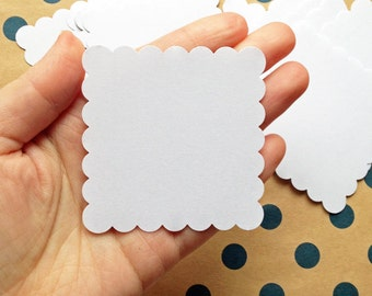 scalloped square blank stickers. handmade plain label stickers. diy birthday christmas gift wrapping. packaging labels. set of 30. NO image