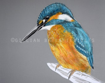 Kingfisher - Embroidered Textile Art Canvas