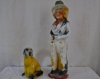 Cowgirl and Her Hound Dog Chalkware Carnival Prizes/Vintage 1940s/Chippy Shabby Chic Western Decor