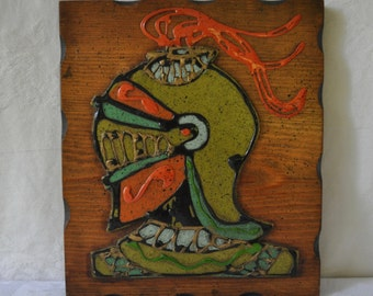 Knight In Armor Wall Plaque/Vintage 1970s/Wood and Cork Picture/Orange Green Red/Retro Man Cave Decor