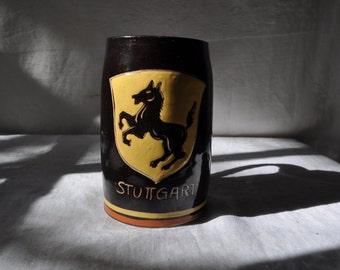 German City Crest Pottery Stein/Vintage c. 1970s/Stuttgart Mug/Knight on Horse Crest/Oktoberfest Renaissance