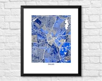 Dallas Texas Art Map. Choose Your Colors. Perfect for your favorite Dallas Cowboy Fan.