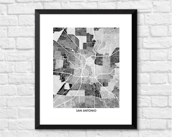San Antonio Texas Art Map Print.  You pick the colors and size.  Perfect for your favorite San Antonio Spurs Fan.