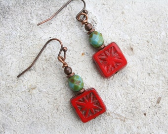 Red Drop Earrings, Boho Earrings, Red Earrings, Czech Glass Earrings