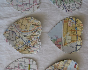 Scalloped hearts, die cut by hand from vintage  USA road maps, garland making, card making, any paper craft, 50 hearts