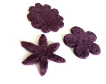 Purple Felt Flowers - 3 Pure Wool Handmade Embellishments 60mm - Mixed Shapes