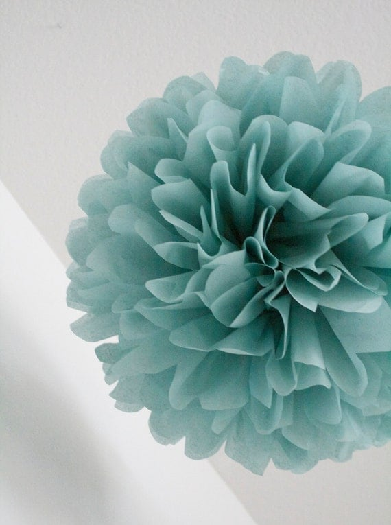 DUSTY BLUE / 1 tissue paper pom pom / wedding decorations / diy / birthday party decor / blue decorations / pompoms / vintage theme
