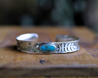 Sterling Turquoise Cuff, Metalwork Bangle, Oxidised Leaf Bracelet, Hand Stamped Anti Clastic Cuff - Rustic Elm Cuff in Turquoise
