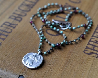 Sterling Silver Tirquoise Garnet Necklace, Ancient Coin Pendant, Boho Crochet Charm Necklace - Kushan Necklace in Turquoise