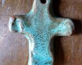 Rustic Simple Turquoise Ceramic Clay Pottery Cross Pendant