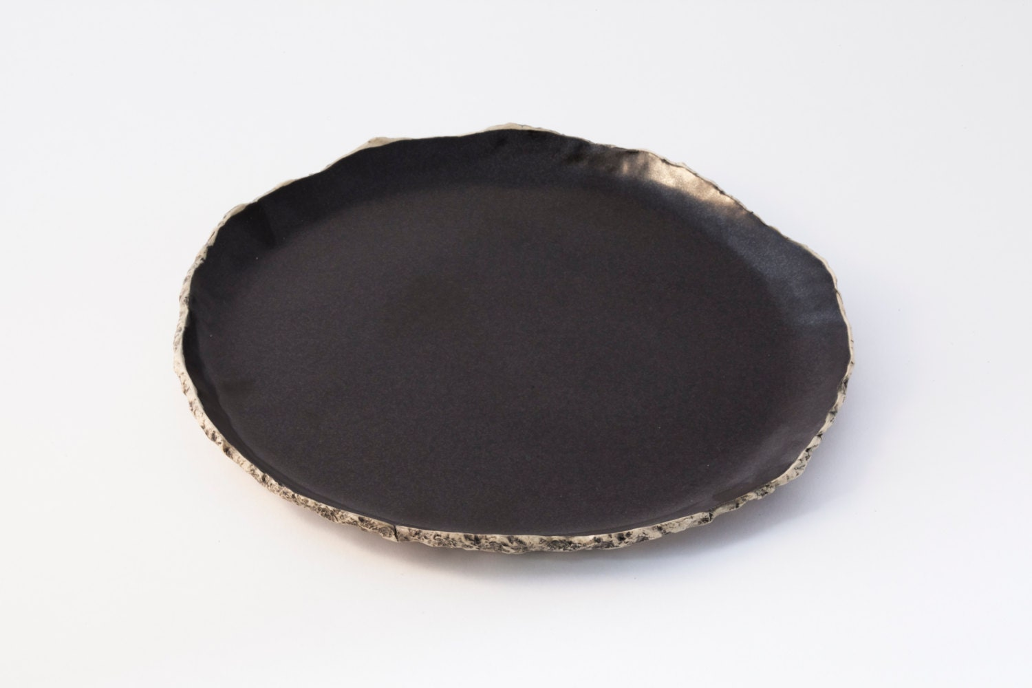 Black Breakfast Plate Ceramic Plate Handmade Dinnerware