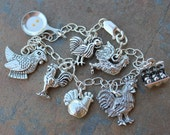 Roosters, Hens, Chickens and Eggs charm bracelet - pewter fowl charms on sterling silver chain -Free Shipping USA - child size to plus size