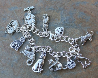 Love My Cat charm bracelet - pewter kitty themed charms on silver plated chain -Free Shipping USA - child size to plus size