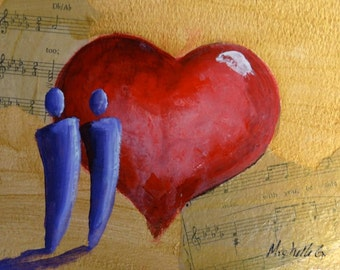 Phantom of the Opera, Here With You, Romantic Gift, Anniversary Gift, Original Painting, Red Heart, Gold, Abstract Painting, Love Song Art