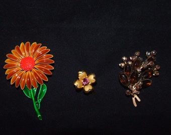 Vintage Flower Brooch -Orange 60's Enamel Flower Brooch } Coro Flower Brooch w/ Pink Rhinestone } Amber Topaz Color Aurora Borealis Flower
