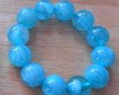 1 DAY SALE Vintage Blue Plastic Beads Swirl Ball Stretch Bracelet