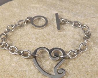 Whimsy Heart Stainless Steel Bracelet