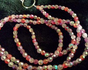 Red and Pink Faceted Beaded Lanyard or Badge Holder