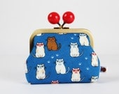 Metal frame coin purse with color bobble - Smart cats on blue - Color dad / cute japanese fabric / brown black cats / blue  red glasses