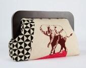 Wooden frame clutch bag - Zon in natural - Trip purse / Echino 10th anniversary / Elephant / Africa inpiration / geometric modern / blue