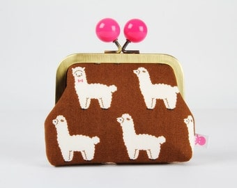 Metal frame coin purse with color bobble - Alpacas in brown - Color dad / Kawaii japanese fabric / Lovely llamas with bowties / pink white