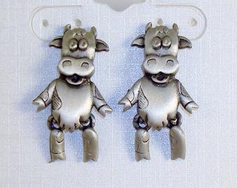 Signed JJ Pewter Cow Post Earrings