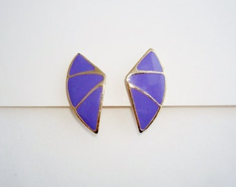 Vintage Purple Enamel Goldtone Clip On Earrings