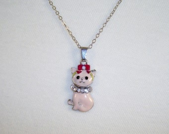Cute Pink Enamel Kitty Cat Pendant Chain Necklace