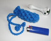 Glass Pipe Case, Small Blue Pipe bag, Glassware bag, Drawstring cushioned small bag