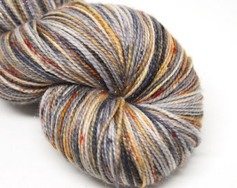 "Glam Rock Sparkle Sock Yarn - ""Cinder and Smoke""-  Handpainted Superwash Merino - 438 Yards"