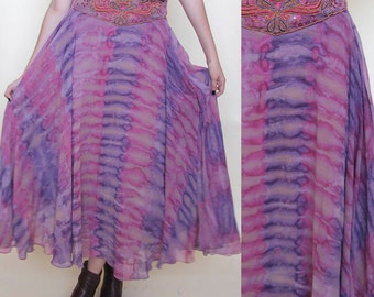 the rumina skirt -- vintage hand-dyed amazingly beautiful full skirt with beaded waist M/L