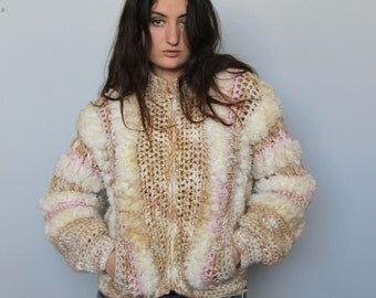 yeti babe -- vintage 80s knit and woven oversized sweater/bomber jacket with pockets -- S/M