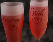Bride and groom champagne and beer glass set of 2 in clear