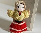 Vintage Tiny Doll Crochet Amigurumi Japan Japanese Cloth Girl Toy Pose Bunka