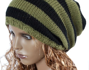 Knitted slouchy beanie hat dreads oversized slouch hat knit hat khaki black