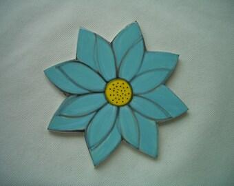 AA - XLarge TURQUOISE LOTUS Flower - Ceramic Mosaic Tile