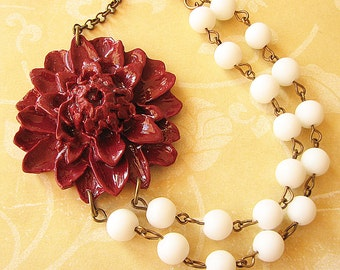 Statement Necklace Flower Necklace Bridesmaid Jewelry Burgundy Necklace Bib Necklace White Necklace Fall Jewelry Gift For Her