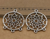 Antique Silver Dreamcatcher Charms, Pendants, Pack Of 10, 34x29mm