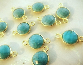 Turquoise Bezel Connector, 8mm Gemstone Links, 24kt Vermeil Double Sided Faceting, BULK WHOLESALE, 15x8mm