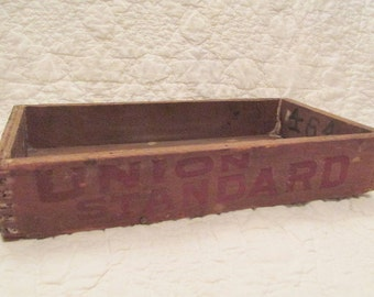 Antique Tobacco Wood Box lots of writing and Dovetail corners SALE