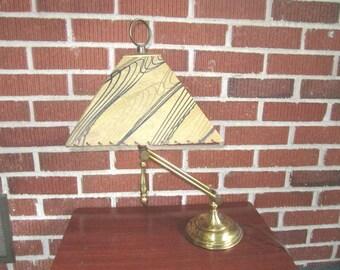 Vintage Mid Century Modern Adjustable Brass Desk Lamp with Fiberglass Shade