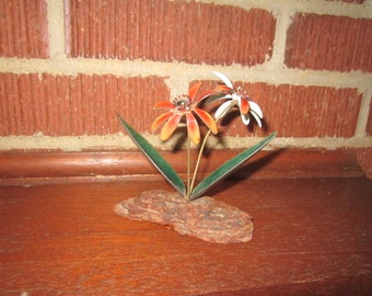 Vintage Mid Century Modern Copper Enamel Orange Woodland Wildflowers Sculpture