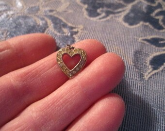 Vintage Lovely Itty Bitty Sterling Silver Open Heart Rhinestone Charm