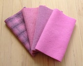 """Hand Dyed Wool Felt, CANDY PINK, Four 6.5"""" x 16"""" pieces in Cool Pastel Pinks"""