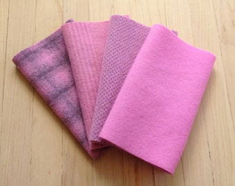 "Hand Dyed Wool Felt, CANDY PINK, Four 6.5"" x 16"" pieces in Cool Pastel Pinks"