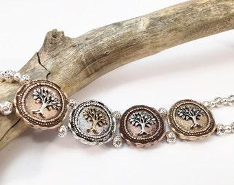 Tree of Life, Cuff Bracelet, Double Strand Bracelet, Silver, Copper, Bronze Bracelet, Two Strand Bracelet, Multi Metals